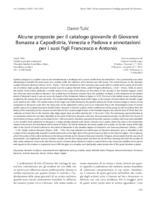 Alcune proposte per il catalogo giovanile di Giovanni Bonazza a Capodistria, Venezia e Padova e annotazioni per i suoi figli Francesco e Antonio